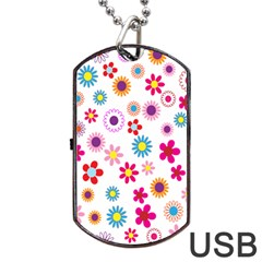Colorful Floral Flowers Pattern Dog Tag Usb Flash (two Sides) by Simbadda