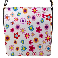 Colorful Floral Flowers Pattern Flap Messenger Bag (s) by Simbadda
