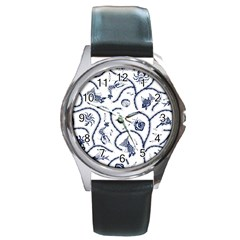 Fish Pattern Round Metal Watch by Simbadda