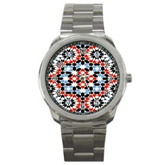 Morrocan Fez Pattern Arabic Geometrical Sport Metal Watch by Simbadda