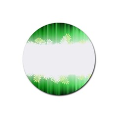 Green Floral Stripe Background Rubber Round Coaster (4 Pack)