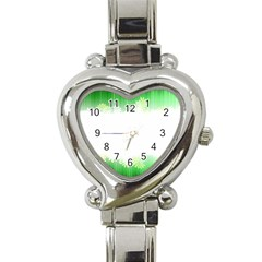 Green Floral Stripe Background Heart Italian Charm Watch by Simbadda