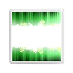 Green Floral Stripe Background Memory Card Reader (square)
