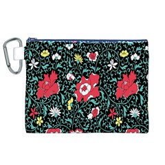 Vintage Floral Wallpaper Background Canvas Cosmetic Bag (xl) by Simbadda
