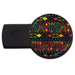 Traditional Art Ethnic Pattern USB Flash Drive Round (4 GB) by Simbadda