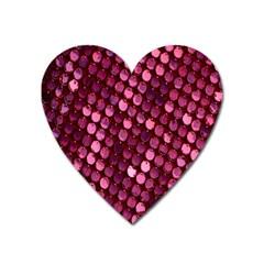 Red Circular Pattern Background Heart Magnet by Simbadda