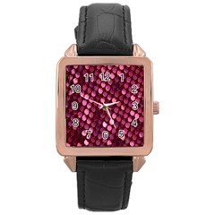 Red Circular Pattern Background Rose Gold Leather Watch  by Simbadda