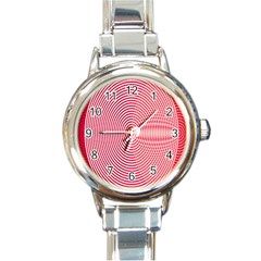 Circle Line Red Pink White Wave Round Italian Charm Watch by Alisyart