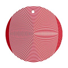 Circle Line Red Pink White Wave Round Ornament (two Sides) by Alisyart