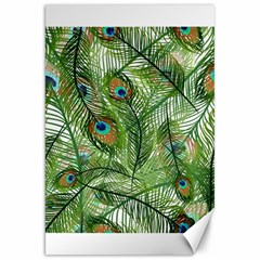 Peacock Feathers Pattern Canvas 20  X 30   by Simbadda