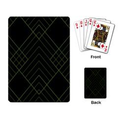 Diamond Green Triangle Line Black Chevron Wave Playing Card by Alisyart