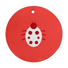 Little Butterfly Illustrations Beetle Red White Animals Round Ornament (two Sides) by Alisyart