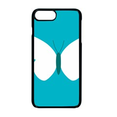 Little Butterfly Illustrations Animals Blue White Fly Apple iPhone 7 Plus Seamless Case (Black) by Alisyart