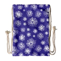 Aztec Lilac Love Lies Flower Blue Drawstring Bag (large) by Alisyart