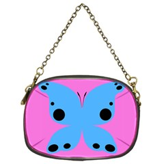 Pink Blue Butterfly Animals Fly Chain Purses (one Side)  by Alisyart