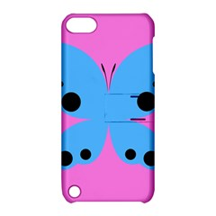 Pink Blue Butterfly Animals Fly Apple Ipod Touch 5 Hardshell Case With Stand by Alisyart