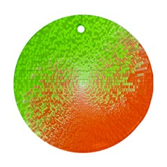 Plaid Green Orange White Circle Round Ornament (two Sides) by Alisyart