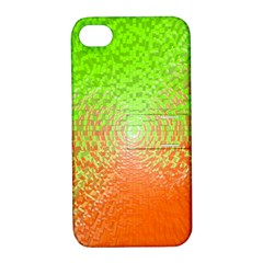 Plaid Green Orange White Circle Apple iPhone 4/4S Hardshell Case with Stand