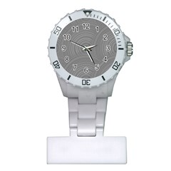 Circular Brushed Metal Bump Grey Plastic Nurses Watch by Alisyart
