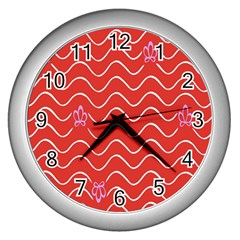 Springtime Wave Red Floral Flower Wall Clocks (silver)  by Alisyart