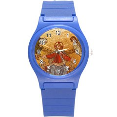 Gold Jesus Round Plastic Sport Watch (s) by boho