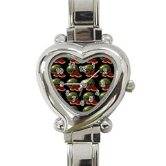 Black Watermelon Heart Italian Charm Watch