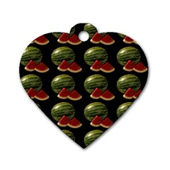 Black Watermelon Dog Tag Heart (two Sides) by boho