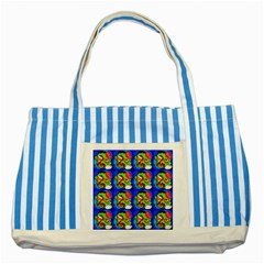 Zombies Striped Blue Tote Bag by boho