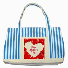Happy Mothers Day Striped Blue Tote Bag by boho