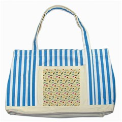 Mustaches Striped Blue Tote Bag by boho