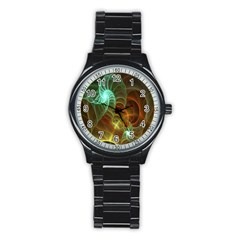 Art Shell Spirals Texture Stainless Steel Round Watch by Simbadda