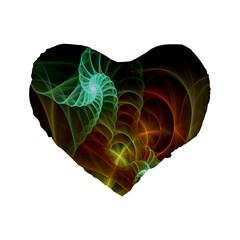Art Shell Spirals Texture Standard 16  Premium Flano Heart Shape Cushions by Simbadda