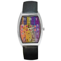 Circuit Board Pattern Lynnfield Die Barrel Style Metal Watch by Simbadda