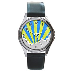 Sunlight Clouds Blue Sky Yellow White Round Metal Watch by Alisyart