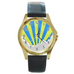 Sunlight Clouds Blue Sky Yellow White Round Gold Metal Watch