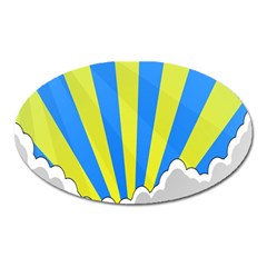 Sunlight Clouds Blue Sky Yellow White Oval Magnet by Alisyart