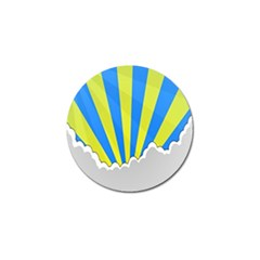 Sunlight Clouds Blue Sky Yellow White Golf Ball Marker (4 Pack) by Alisyart