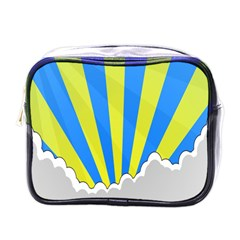 Sunlight Clouds Blue Sky Yellow White Mini Toiletries Bags by Alisyart