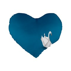 Swan Animals Swim Blue Water Standard 16  Premium Heart Shape Cushions by Alisyart
