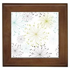 Retro Floral Flower Seamless Gold Blue Brown Framed Tiles by Alisyart