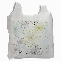 Retro Floral Flower Seamless Gold Blue Brown Recycle Bag (one Side) by Alisyart