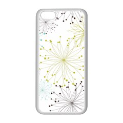 Retro Floral Flower Seamless Gold Blue Brown Apple Iphone 5c Seamless Case (white) by Alisyart