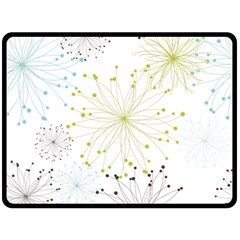 Retro Floral Flower Seamless Gold Blue Brown Double Sided Fleece Blanket (large)  by Alisyart