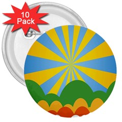 Sunlight Clouds Blue Yellow Green Orange White Sky 3  Buttons (10 Pack)  by Alisyart