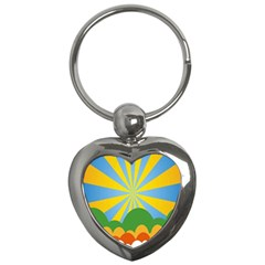 Sunlight Clouds Blue Yellow Green Orange White Sky Key Chains (heart)  by Alisyart