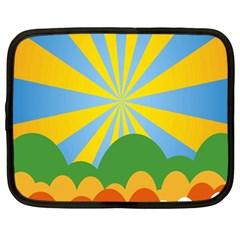 Sunlight Clouds Blue Yellow Green Orange White Sky Netbook Case (large) by Alisyart