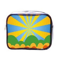 Sunlight Clouds Blue Yellow Green Orange White Sky Mini Toiletries Bags by Alisyart