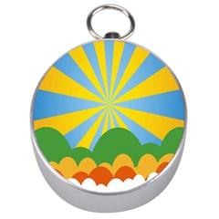 Sunlight Clouds Blue Yellow Green Orange White Sky Silver Compasses by Alisyart