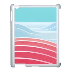 Wave Waves Blue Red Apple Ipad 3/4 Case (white) by Alisyart