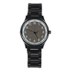 Modern Oriental Pattern Stainless Steel Round Watch by dflcprints